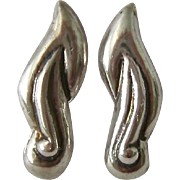 Sterling Silver 925 Pre Eagle Mexican Earrings Screw Back Signed Lico