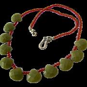 Sterling Silver 925 Green Gemstone Teardrop Fringe Necklace