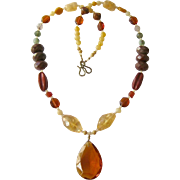 Multi Gemstone Necklace Sunny Earthy Colors