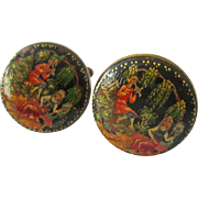Painted Lacquer Brass Tone Cuff Links Intricate Probably Russian
