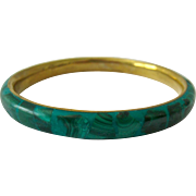 Malachite and Composite Brass Bangle Bracelet