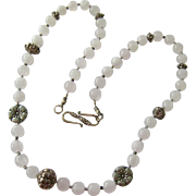 Milky White Gemstone and Sterling Silver 925 Necklace