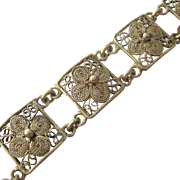 Sterling Silver 925 Cannetille Panel Bracelet