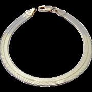 Sterling Silver 925 Flat Herringbone Bracelet Italy