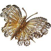 800 Silver Cannetille Gilt Butterfly PIn Brooch Fasces Mark Italy 1934-44