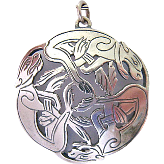 Interesting Sterling Silver 925 Pendant Large Cats