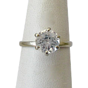 10K Gold White Spinel Sabrina Solitaire Ring