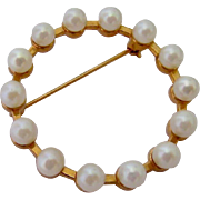12K Gold Filled Cultured Pearl Circle Pin Brooch Signed