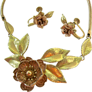 Krementz Two Tone Gold Plated Necklace Plus Bonus Earrings Floral Motif