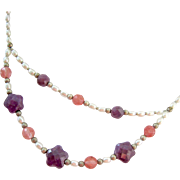 Sterling Silver Gemstone and FW Pearl Swag Necklace