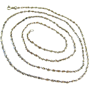 Sterling Silver 925 Long Twisted Necklace 36 Inches
