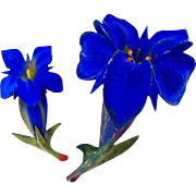 Pair 2 Carved Wooden Iris Flower Brooches
