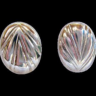 Sterling Silver 925 Flat Oval Button Post Earrings Chevron Design