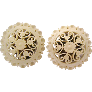 Finely Carved Button Earrings 800 Silver Clips