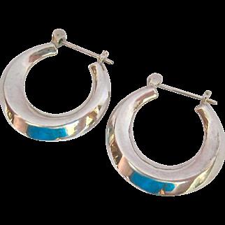 Sterling Silver 925 Hoop Earrings with Snap Bar Closure