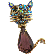 Warner Winking Cat Brooch Amethyst Glass and AB Stones