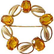 14K Gold Yellow Sapphire Circle Brooch Signed