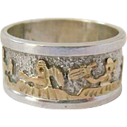 Navajo Tom and Sylvia (Sue) Kee Sterling Silver and 12K Gold Filled Storyteller Ring - Red Tag Sale Item