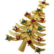 Mylu Christmas Tree Pin Brooch Red Green Rhinestones
