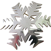 Large Sterling Silver 925 Snowflake Brooch or Pendant