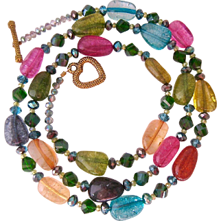 Festive Colorful Art Glass Bead Necklace Toggle Clasp