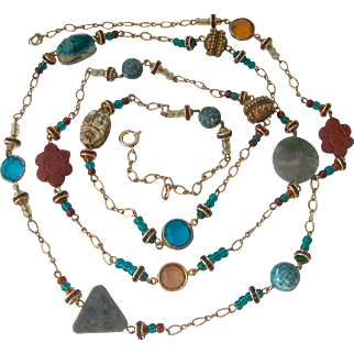 Fab Long Necklace Multi Gemstone Crystals and Scarabs 50 Inches
