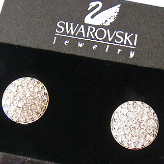 Swarovski Clear Crystal Button Clip Earrings Original Card Swan Signed