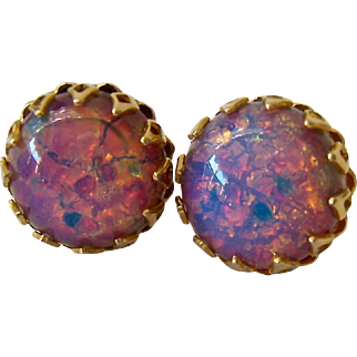 Vintage Simulated Opal Button Earrings Colorful