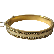 Vintage Etruscan Design Hinged Bangle Bracelet with Safety Chain Patented