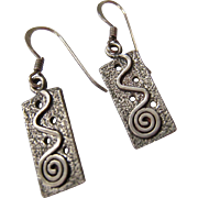 Sterling Silver 925 Abstract Dangle Earrings