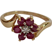 14K Gold Topaz or Spinel and Diamond Ring Flower Motif