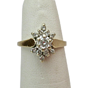 14K Gold Diamond Cluster Ring .2ct Estimated Gem Weight
