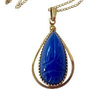 Carved Scarab Blue Chalcedony Gold Filled Pendant Necklace