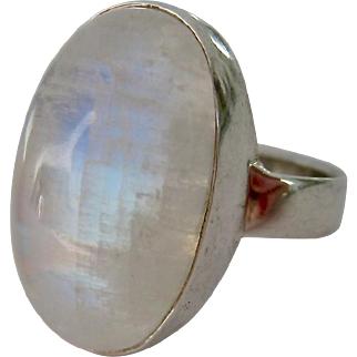 Sterling Silver 925 Large Oval Moonstone Ring