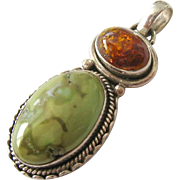 Large Sterling Silver 925 Amber and Green Cabochon Pendant