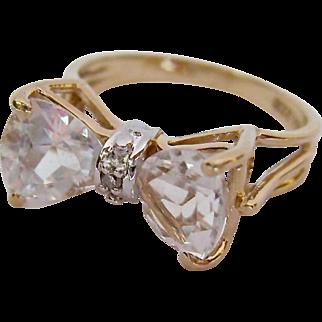 10K Gold White Topaz & Diamond Ring Bow Tie Design