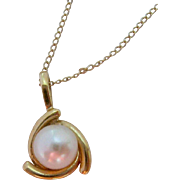 14K Gold and Cultured Pearl Pendant Necklace