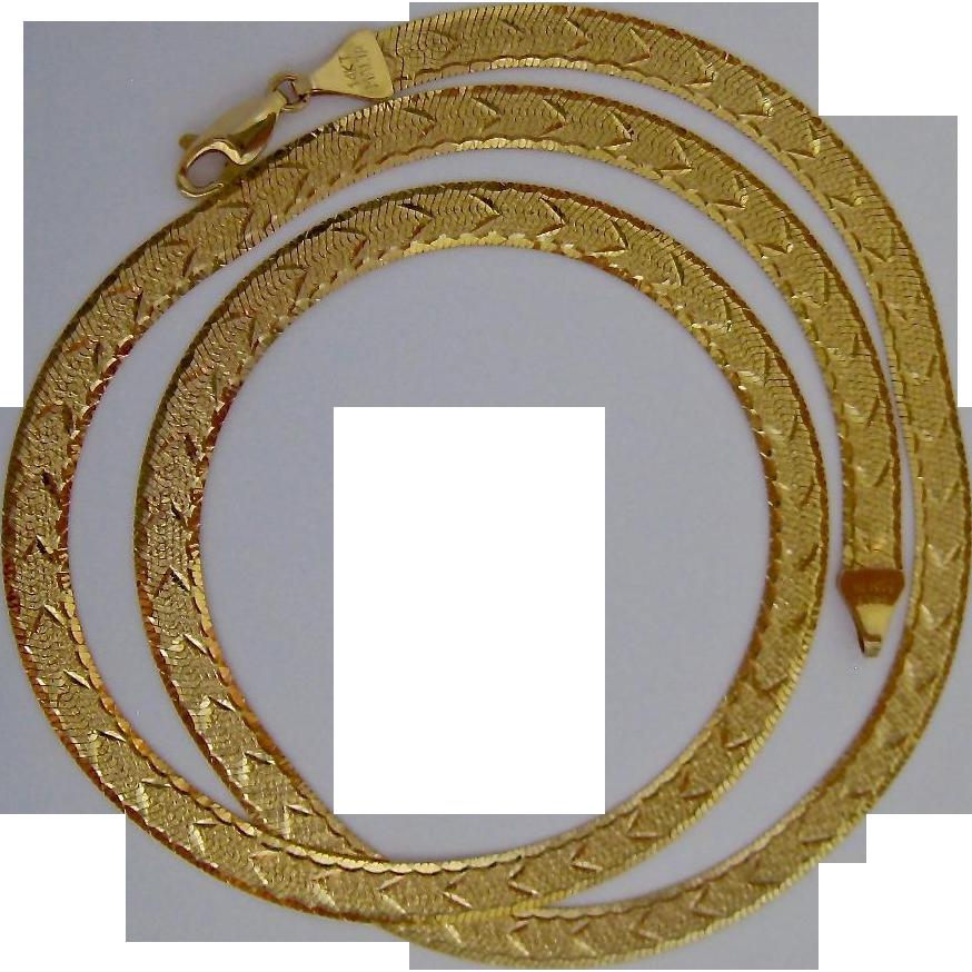 16 Inch Gold Herringbone Necklace: Stunning 14K Gold Reversible Herringbone Necklace 14.0