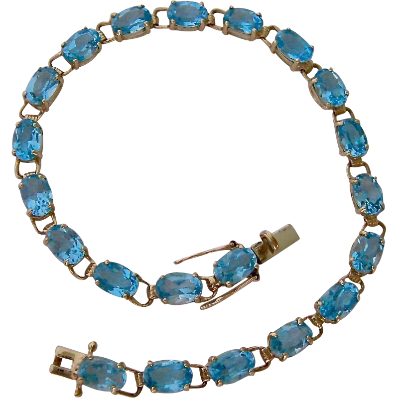 10K Gold Blue Topaz Bracelet From Susabellas On Ruby Lane