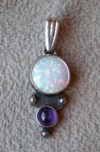 Beautiful Sterling Opal & Amethyst Pendant