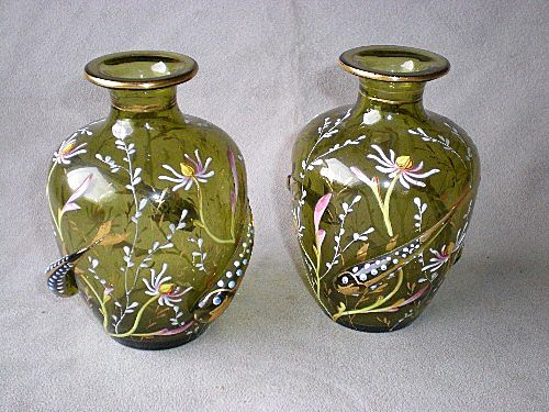 "Magnificent Matched Pair Moser ""Aquatic"" Vases"
