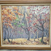 "Original California Artist ""Margaret Morrish"" (1893-1975) Trees Oil Painting"