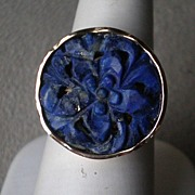 Stunning and Huge 14k Gold Lapis Lazuli Ring