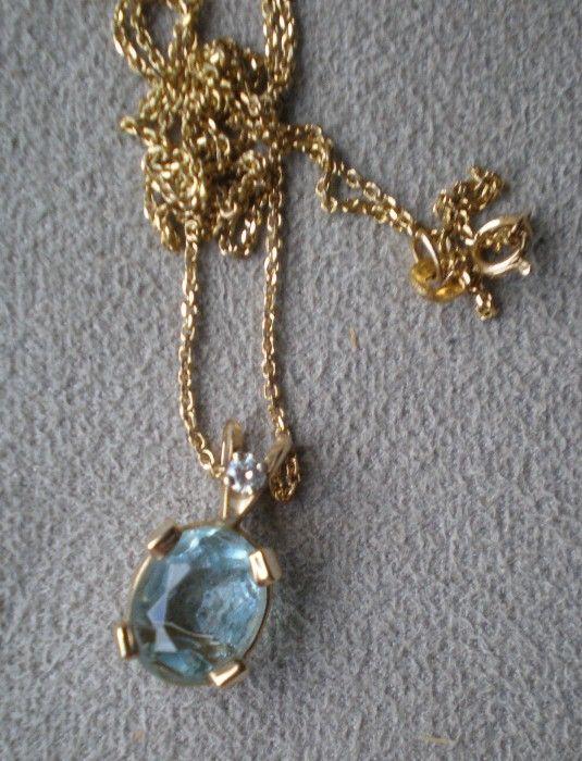 Beautiful 14k Gold and Aquamarine Pendant Necklace
