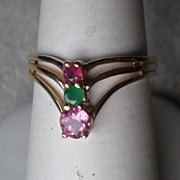 Beautiful 10k Gold Ring with Multi-Colored Stones