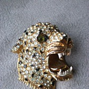 Magnificent Rhinestone Leopard Head Costume Jewlery Pin