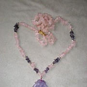 Beautiful Carved Amethyst Pendant with Rose Quartz Necklace