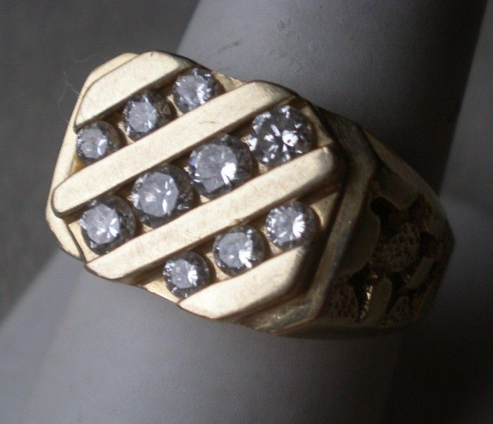 Magnificent 14k Gold & Diamond Man's Ring