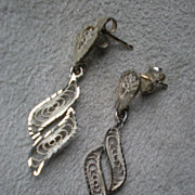 Fabulous Pair 14k Gold Filigree Earrings