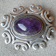 Stunning Mexican Sterling and Amethyst Pin / Brooch